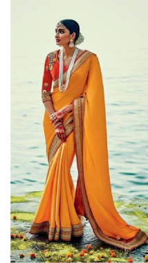 Elegant Yellow Saree with Red Border